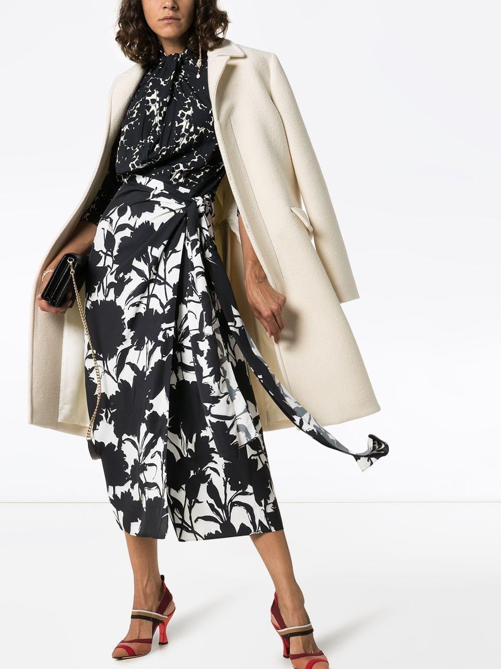 PRADA Floral Print Tie Neck Dress