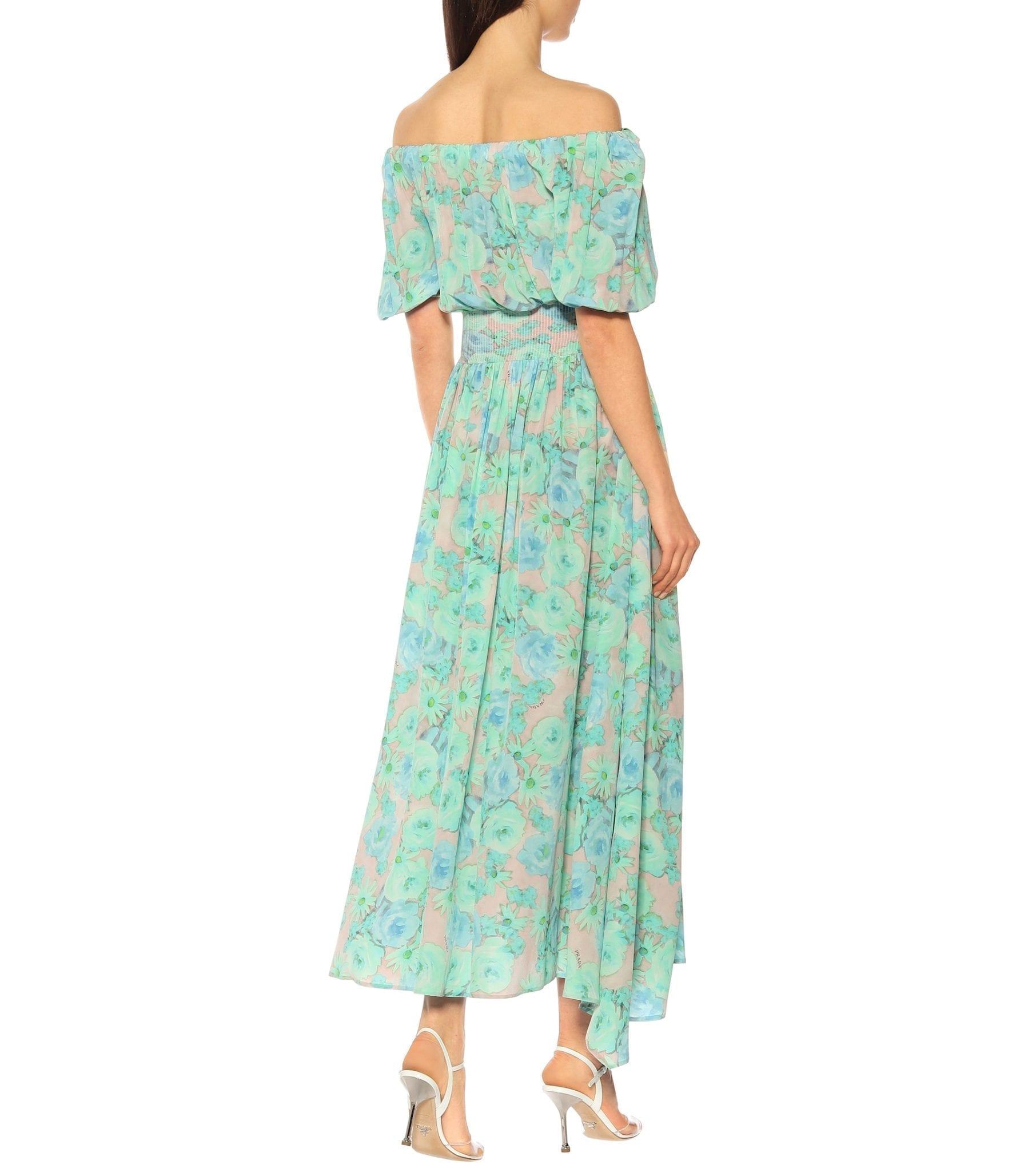 PRADA Floral Silk Midi Dress