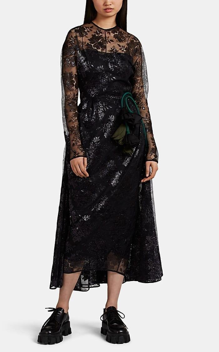 PRADA Lamé Lace Apron Dress