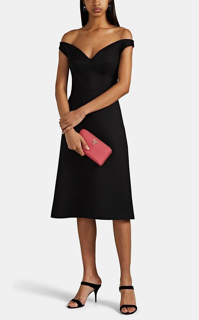 PRADA Off-The-Shoulder Wool Gabardine Dress