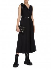 PRADA Quick-release Buckle Belted Satin Sash Tie Pleated Dress