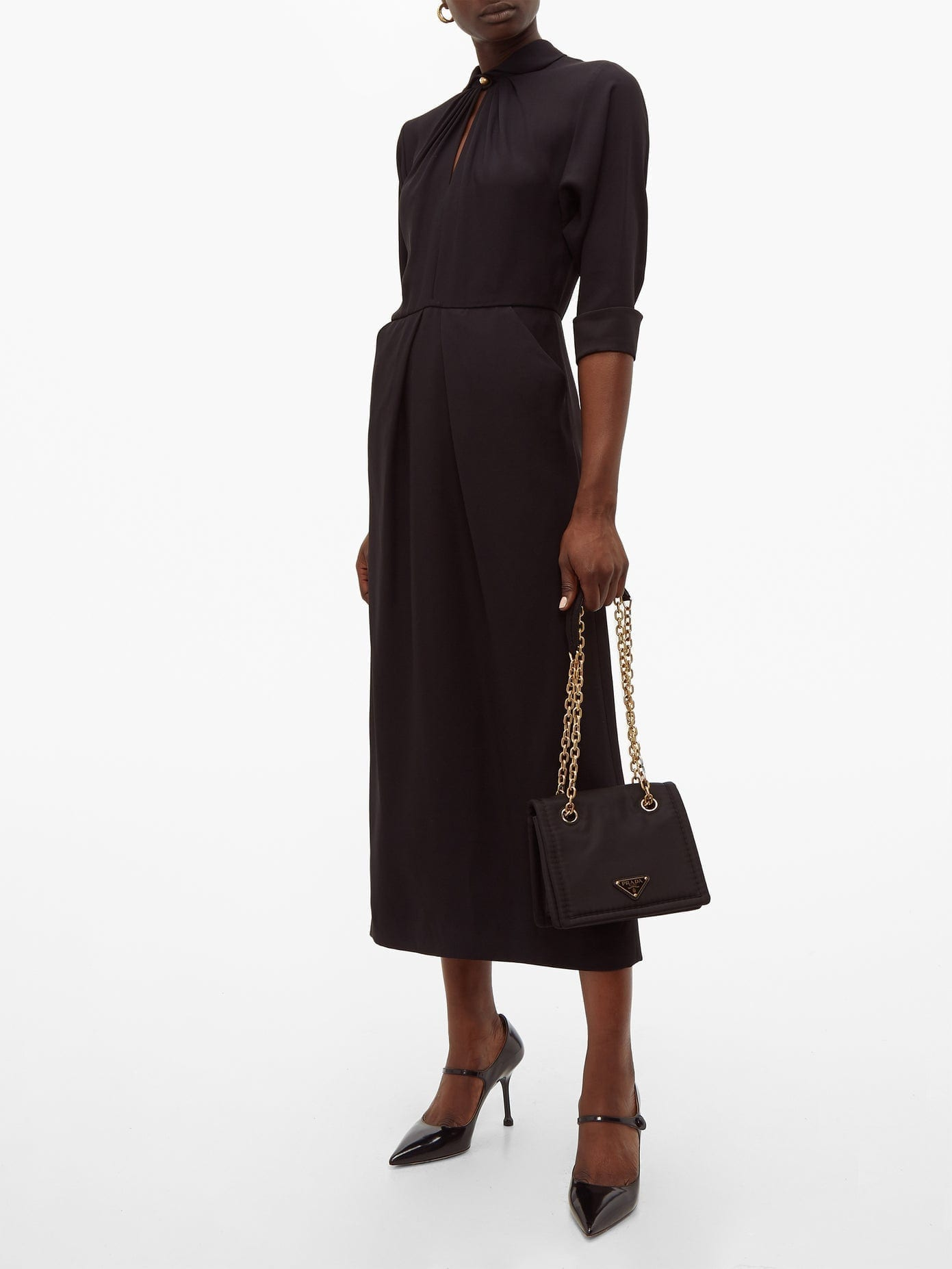 PRADA Sable Midi Shift Dress