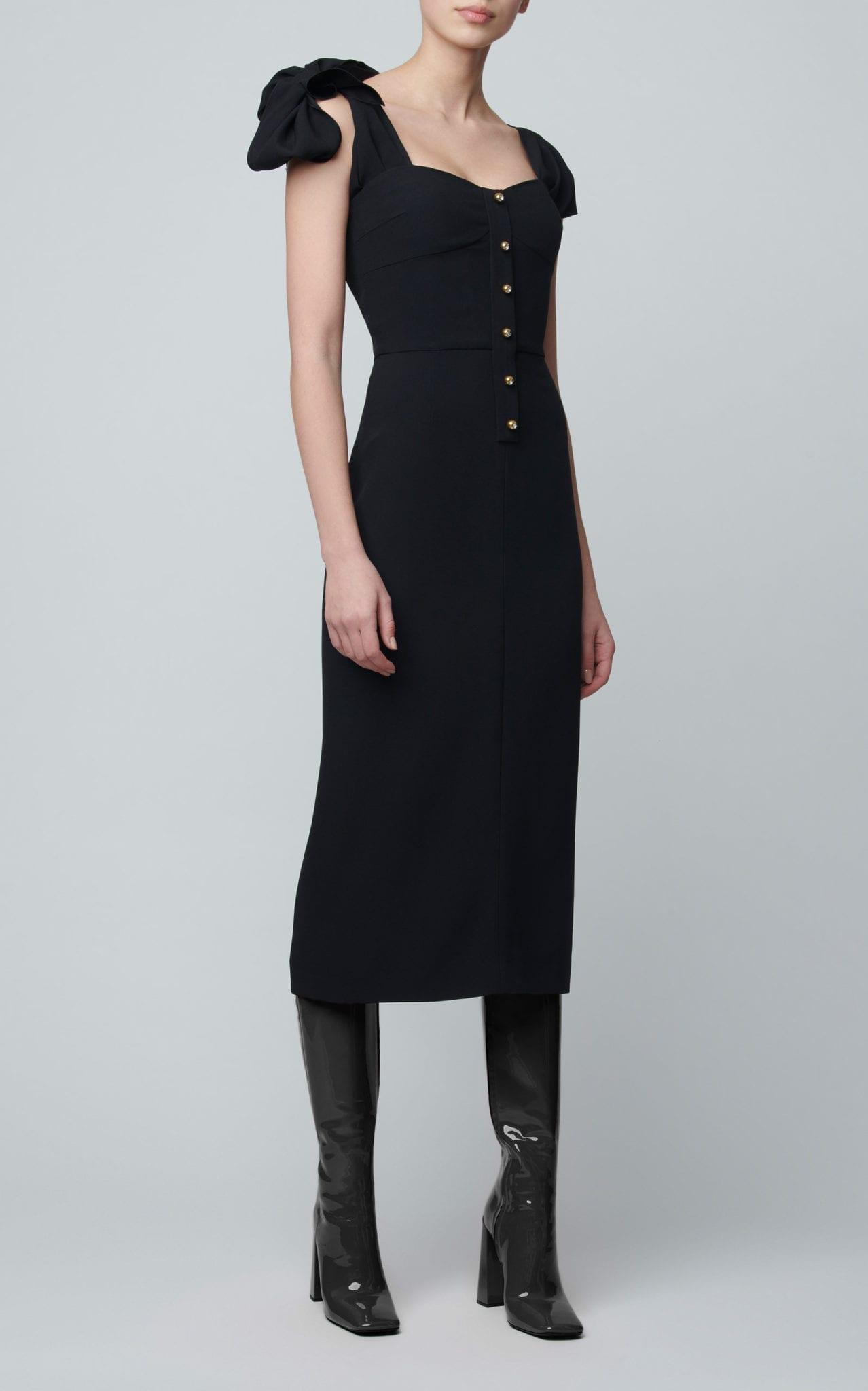 PRADA Tie-Detailed Satin-Crepe Midi Dress