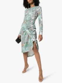 PREEN BY THORNTON BREGAZZI Daisy Sequin Ruched Midi Dress