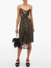 PREEN BY THORNTON BREGAZZI Leah Velvet And Lace-Panel Slip Dress