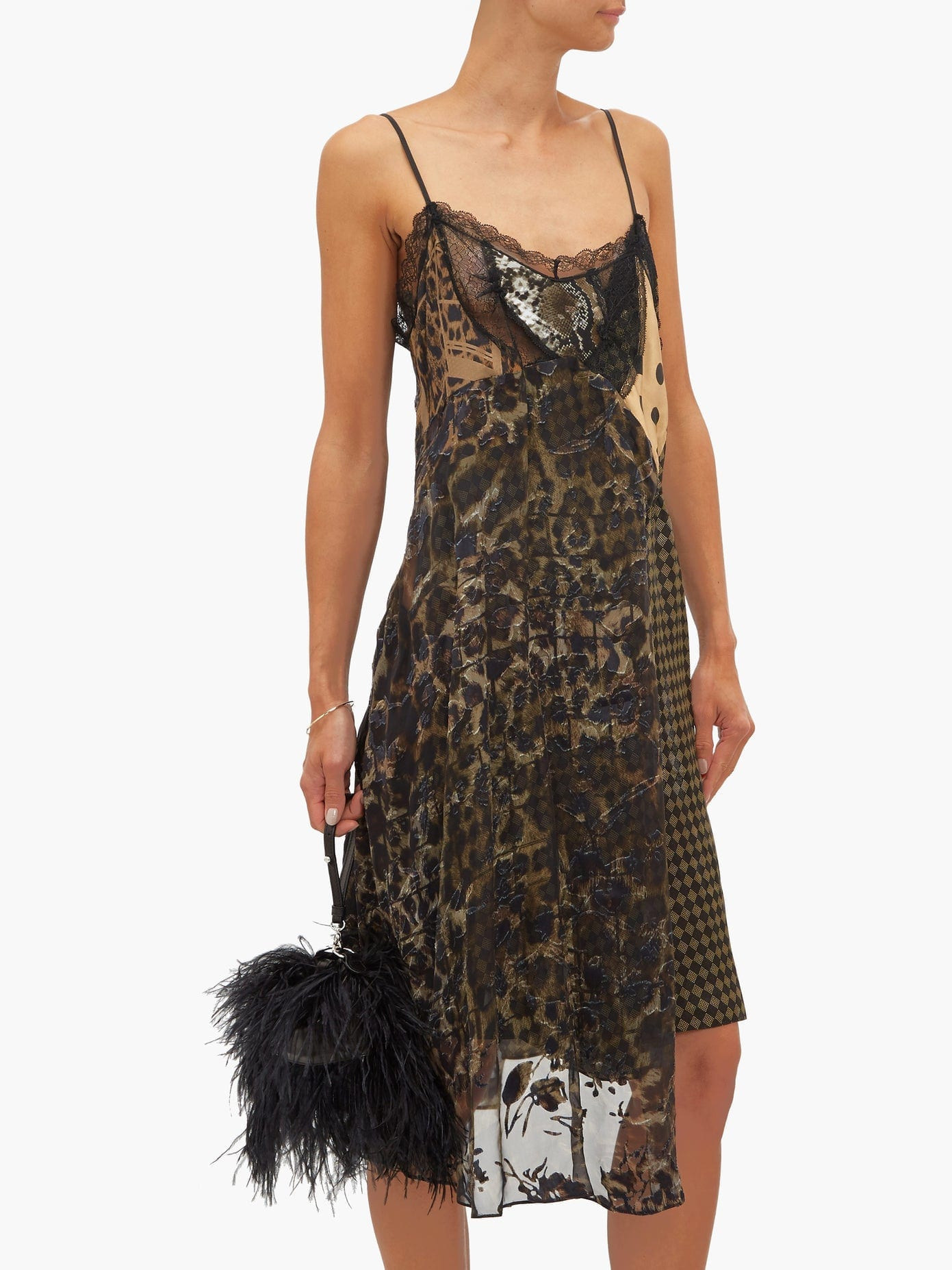 PREEN BY THORNTON BREGAZZI Leah Velvet And Lace-Panel Slip Dress