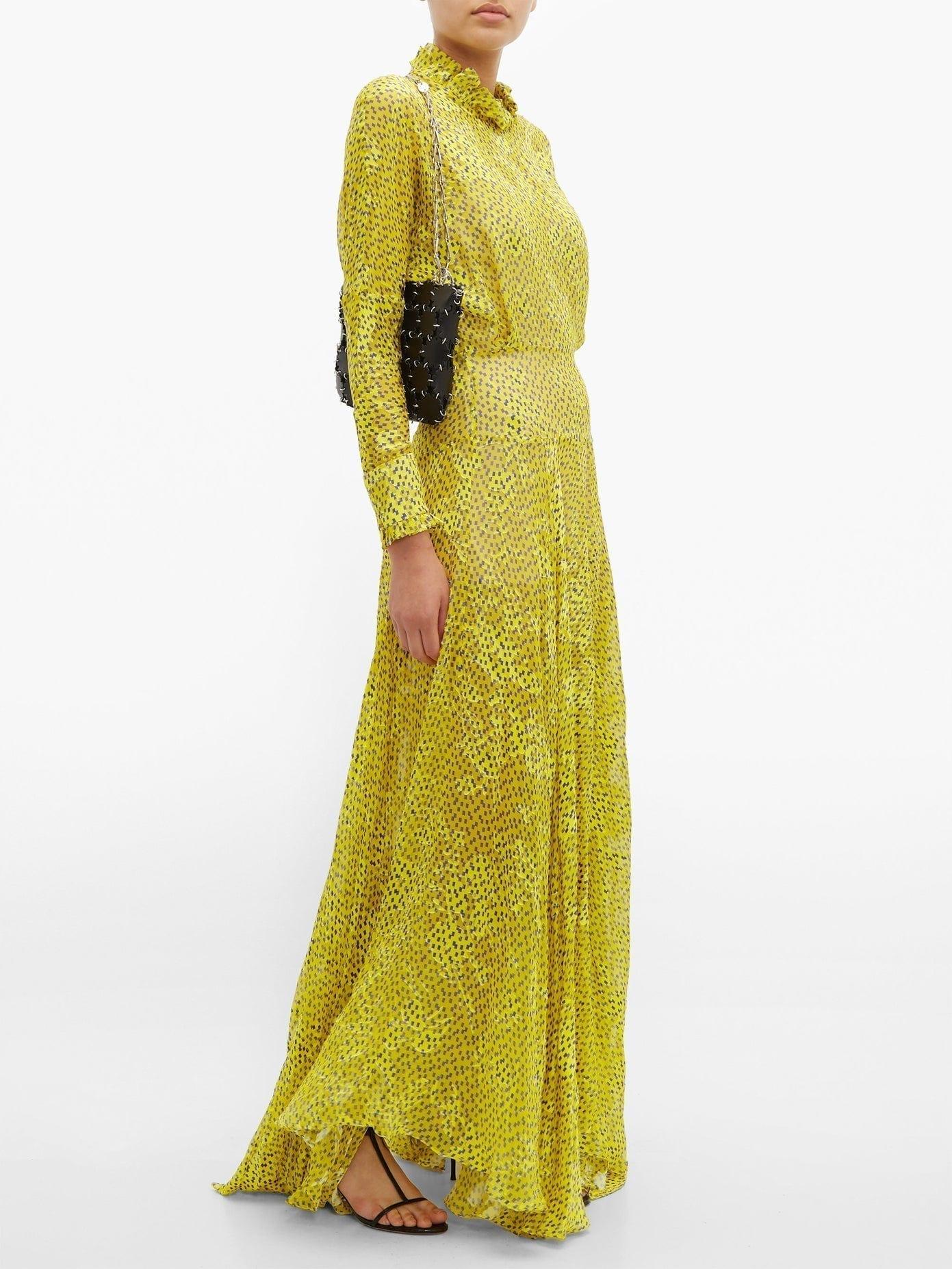 PREEN BY THORNTON BREGAZZI Mary Ruffle-neck Devoré Maxi Dress