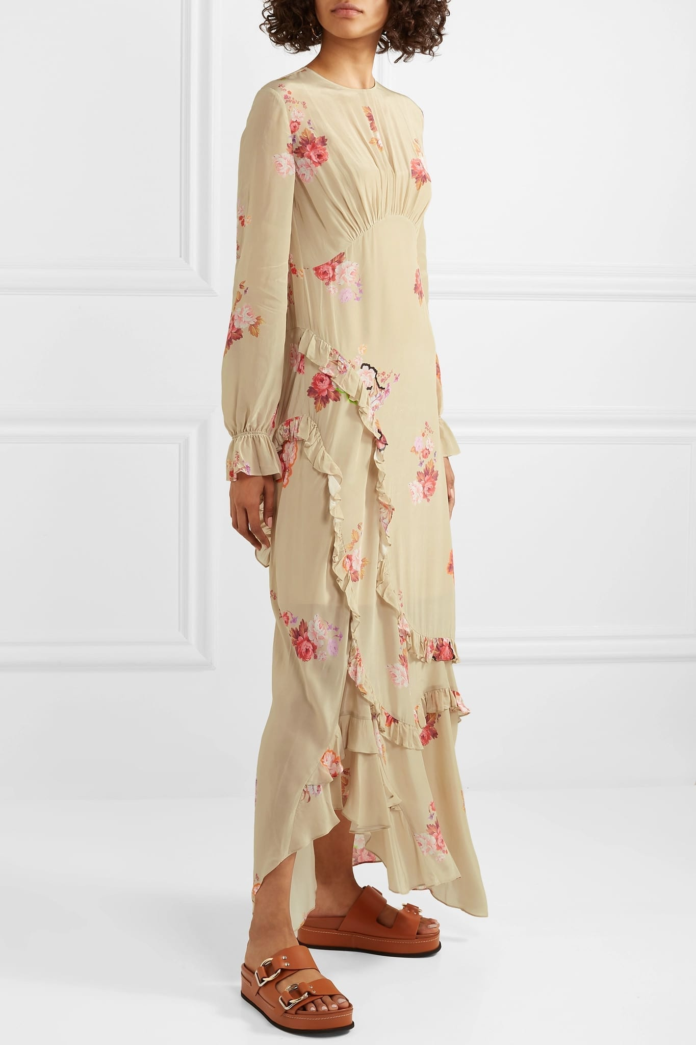 PREEN LINE Gabriella Asymmetric Ruffled Floral-print Crepe De Chine Maxi Dress