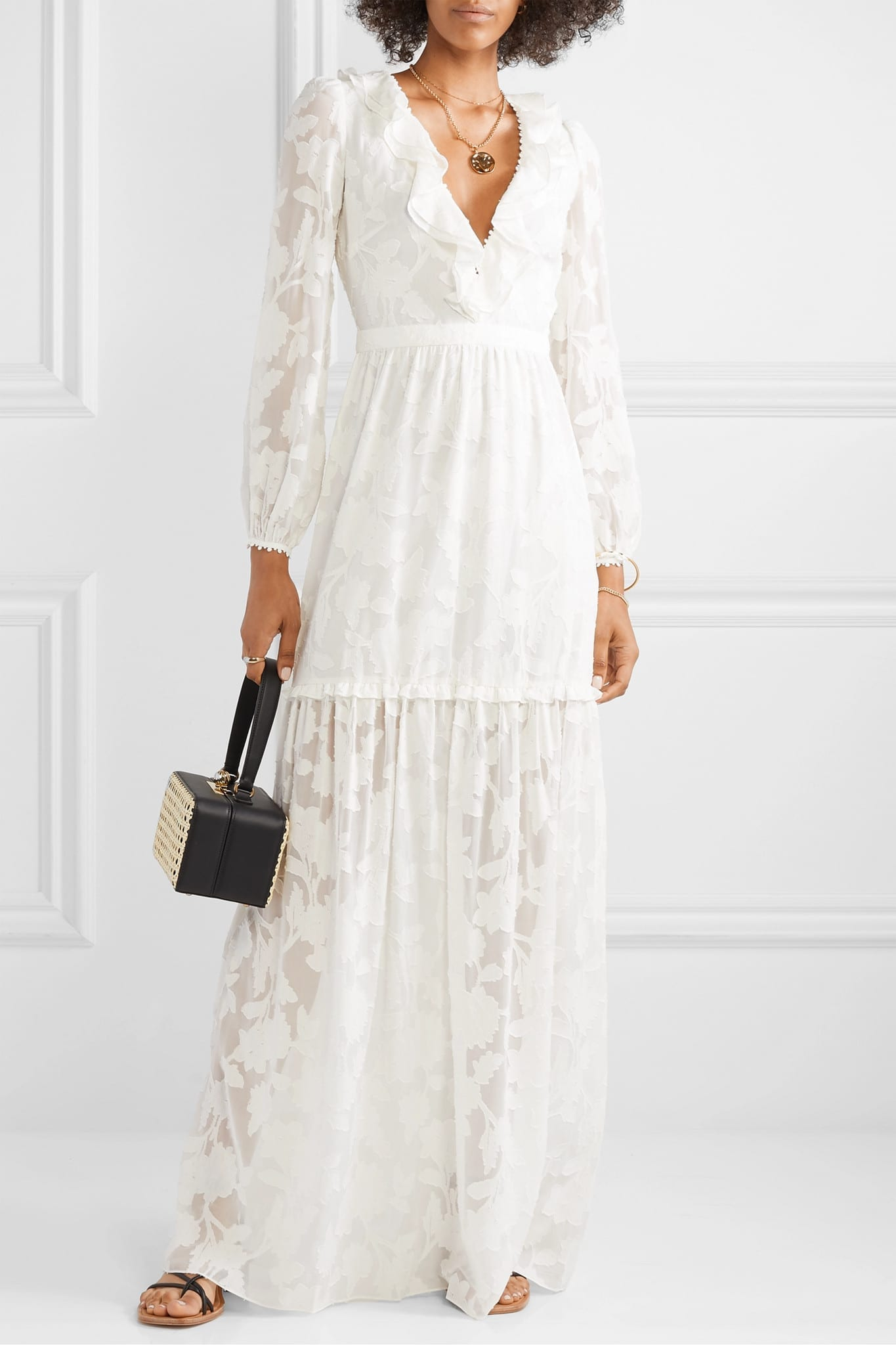 RACHEL ZOE Alexis Ruffled Tiered Fil Coupé Silk And Cotton-blend Chiffon Maxi Dress