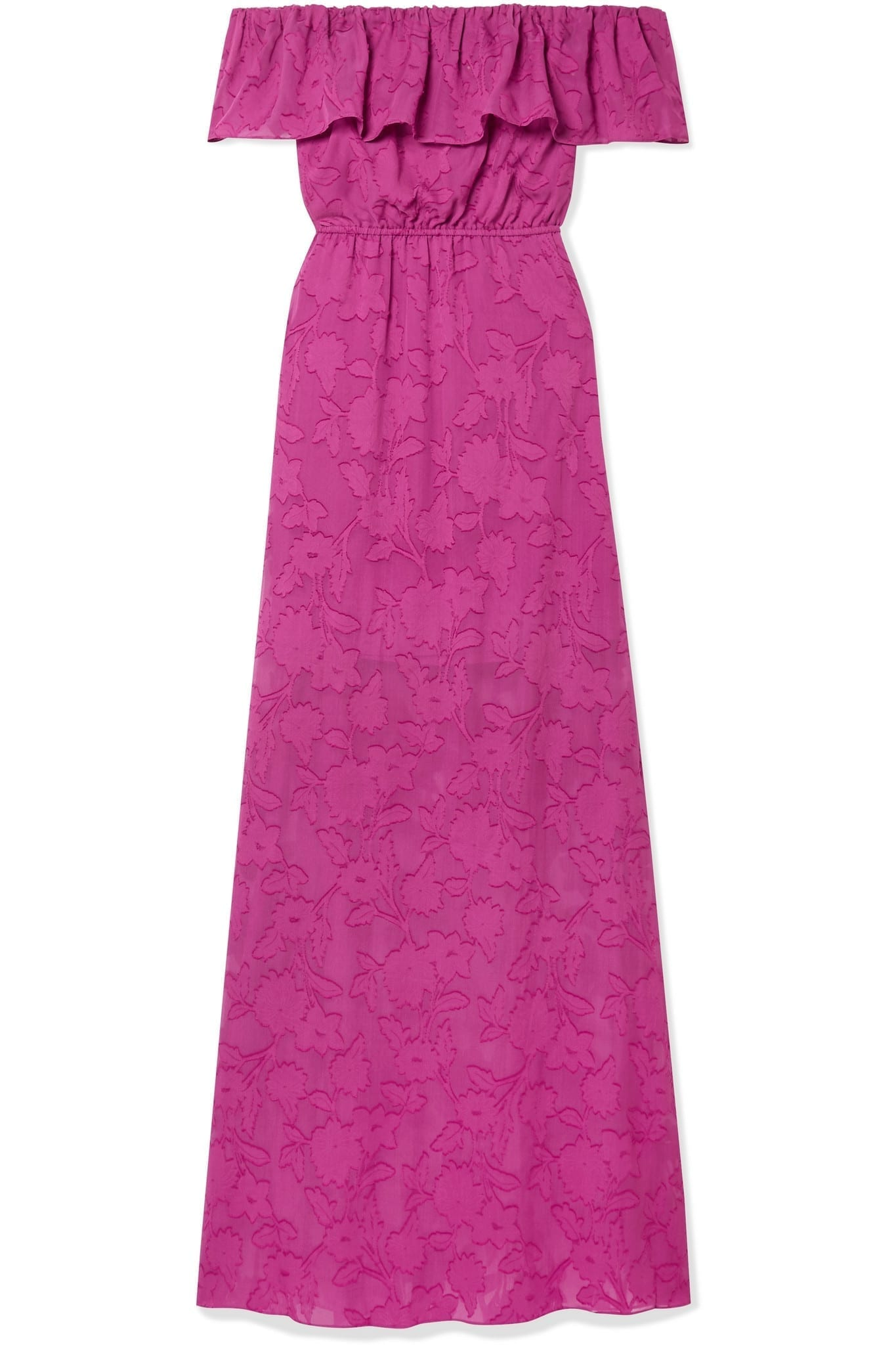 RACHEL ZOE Clea Ruffled Off-the-shoulder Fil Coupé Silk And Cotton-blend Chiffon Maxi Dress
