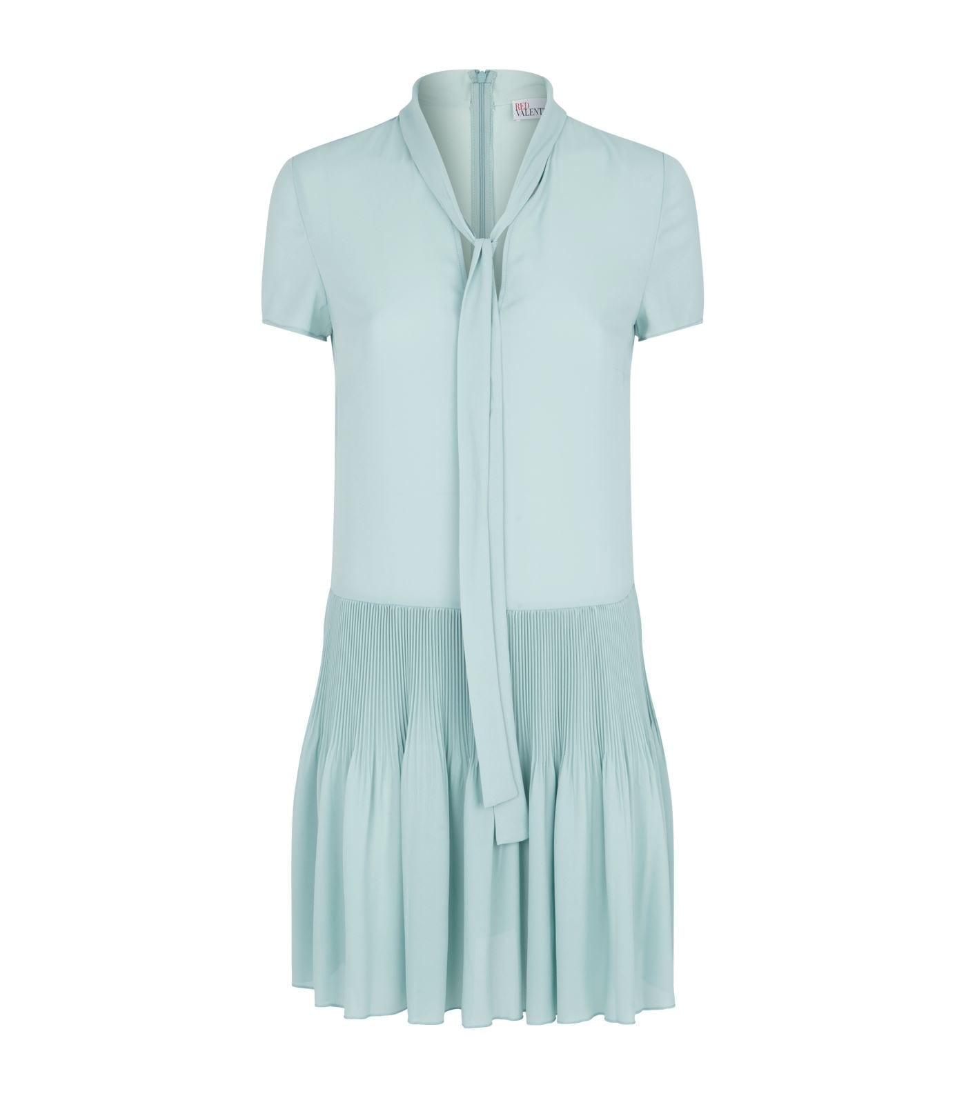 RED VALENTINO Tie-Neck Plissé Dress