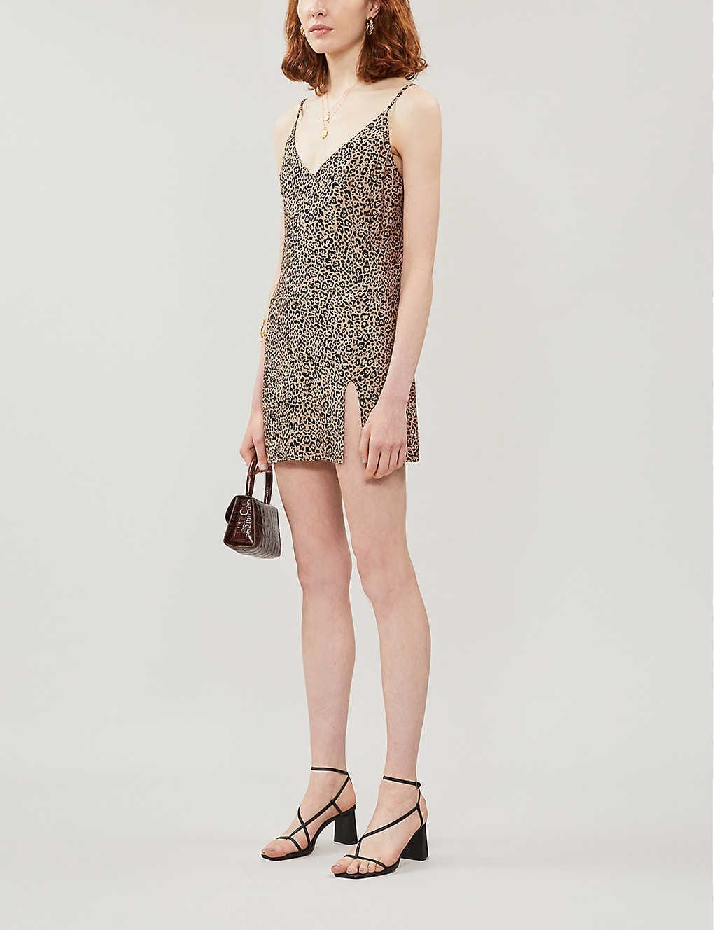 REFORMATION Marlowe Leopard-print Crepe Mini Dress