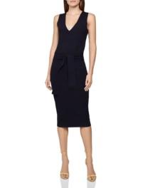 REISS Amber Tie-Waist Knitted Dress
