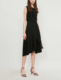 REISS Marling Wrap-front Crepe Midi Dress