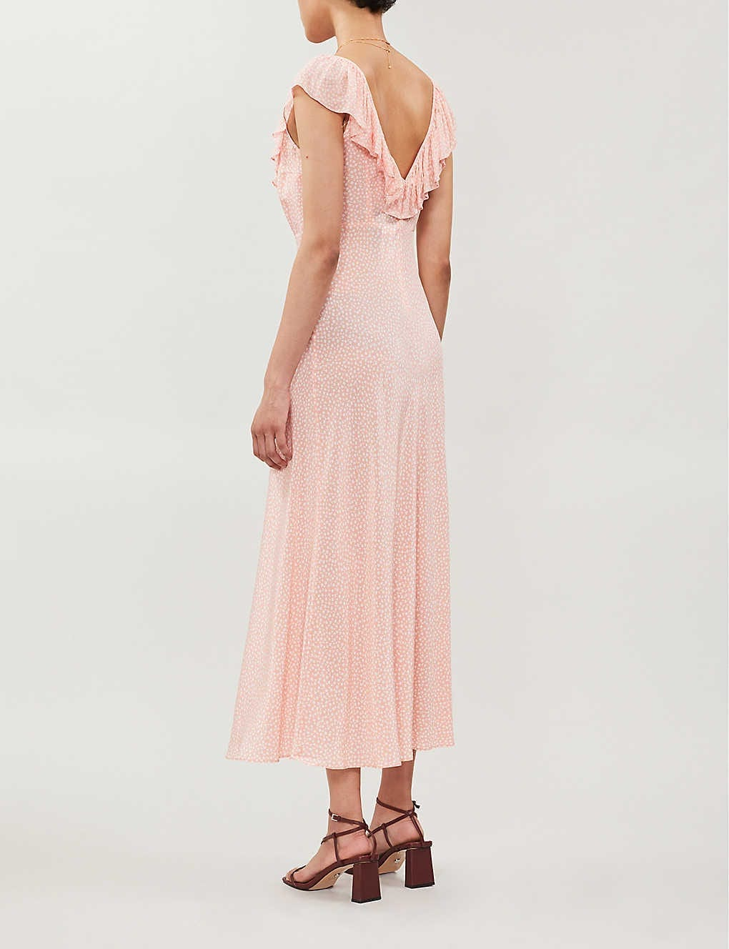 RIXO Antoinette Ruffled-trim Floral-print Crepe Maxi Dress