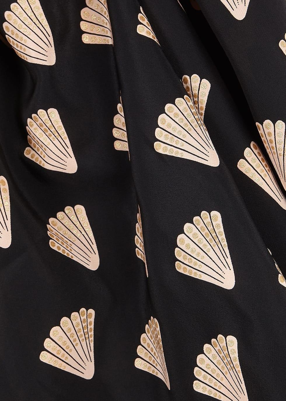 RIXO Holly Shell-print Silk Midi Dress