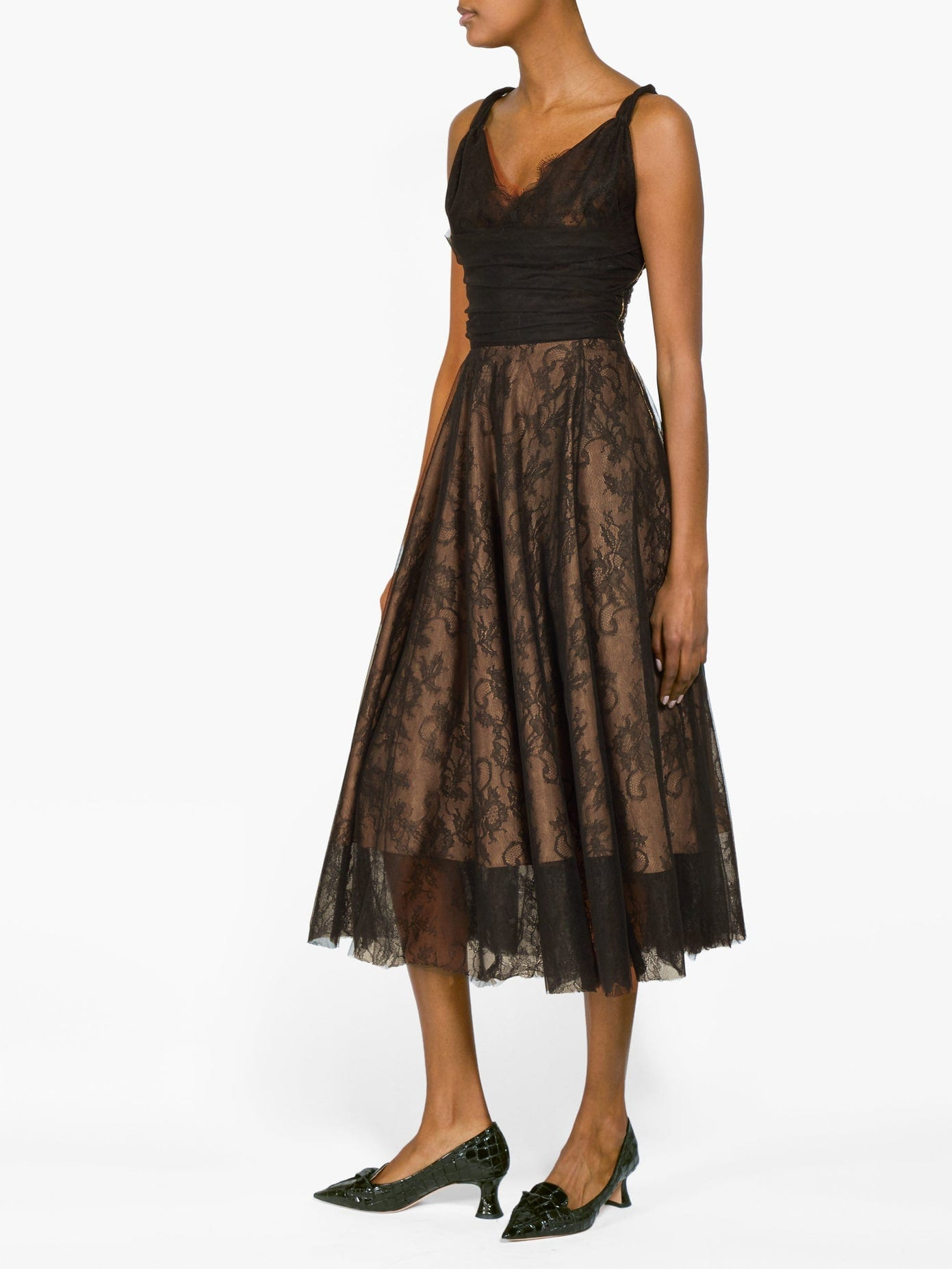 ROCHAS Pralina Chantilly-lace And Tulle Dress