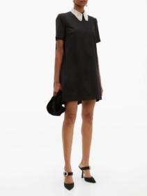 SARA BATTAGLIA Faux Pearl-Collar Wool-Blend Mini Dress