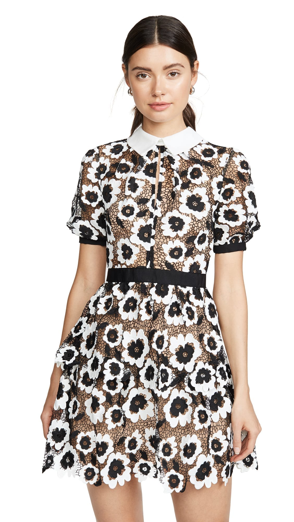 SELF PORTRAIT Abstract Floral Guipure Mini Dress