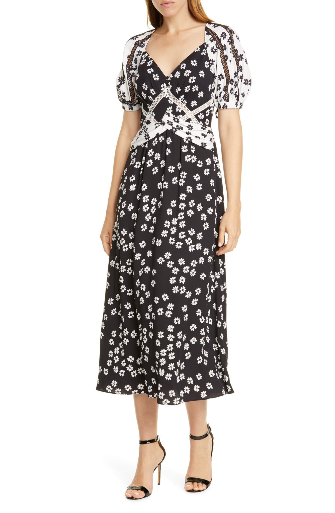 SELF-PORTRAIT Daisy Print Puff Sleeve Midi Dress