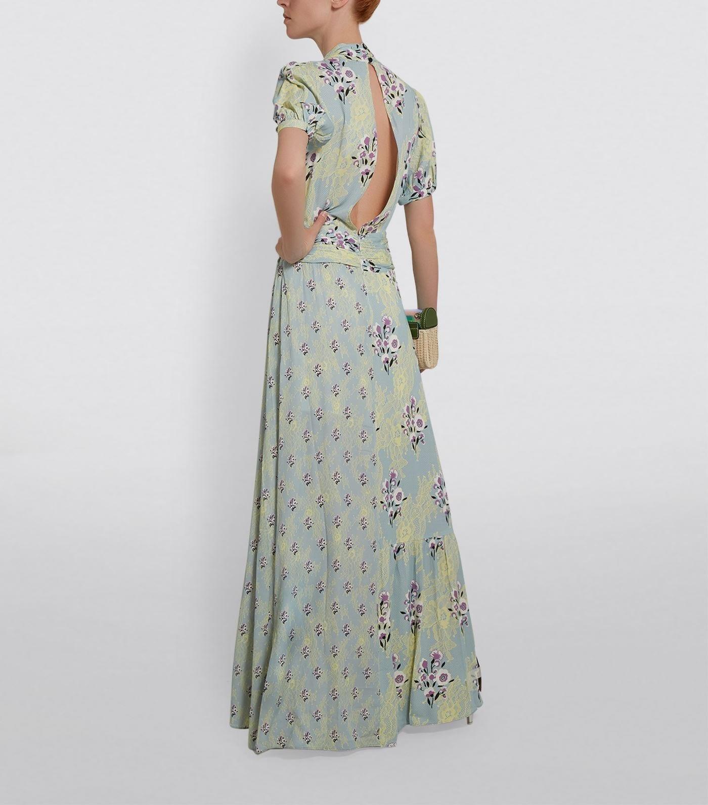 SELF-PORTRAIT Floral and Lace Print Maxi Dress