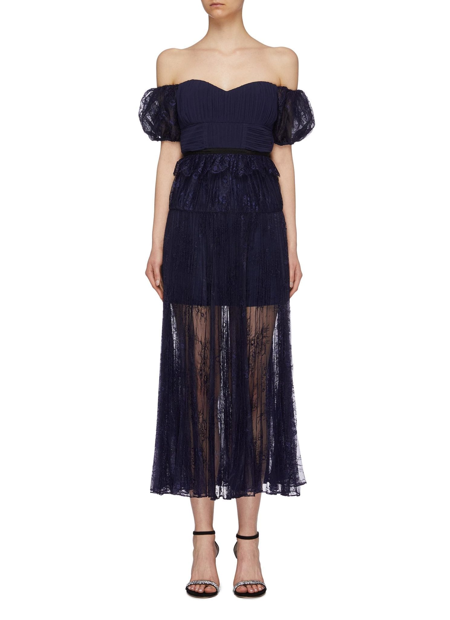 SELF-PORTRAIT Pleated Chantilly Lace Off-shoulder Dress