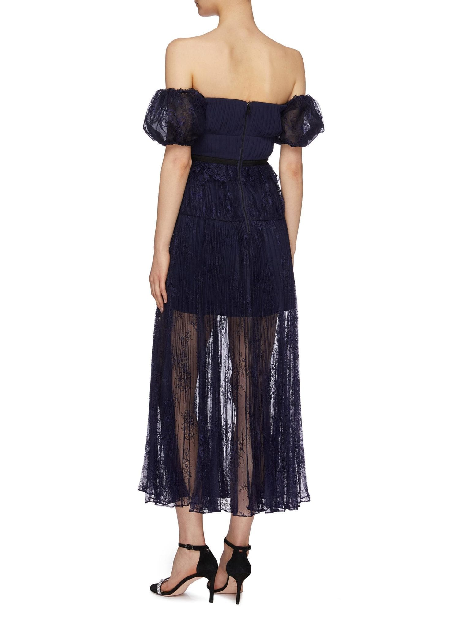 SELF-PORTRAIT Pleated Chantilly Lace Off-shoulder Dress