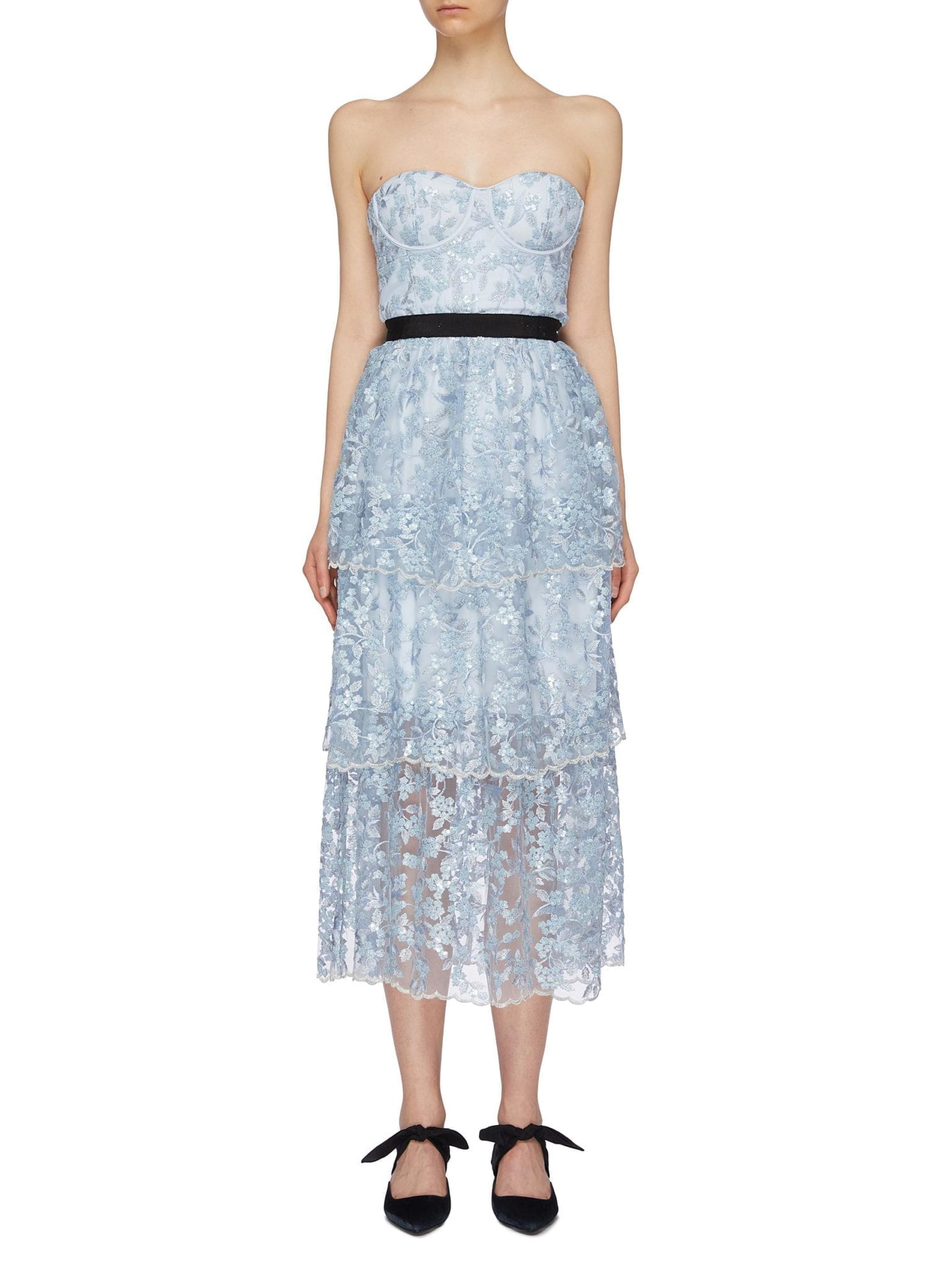 SELF-PORTRAIT Sequin Floral Tiered Mesh Strapless Midi Dress