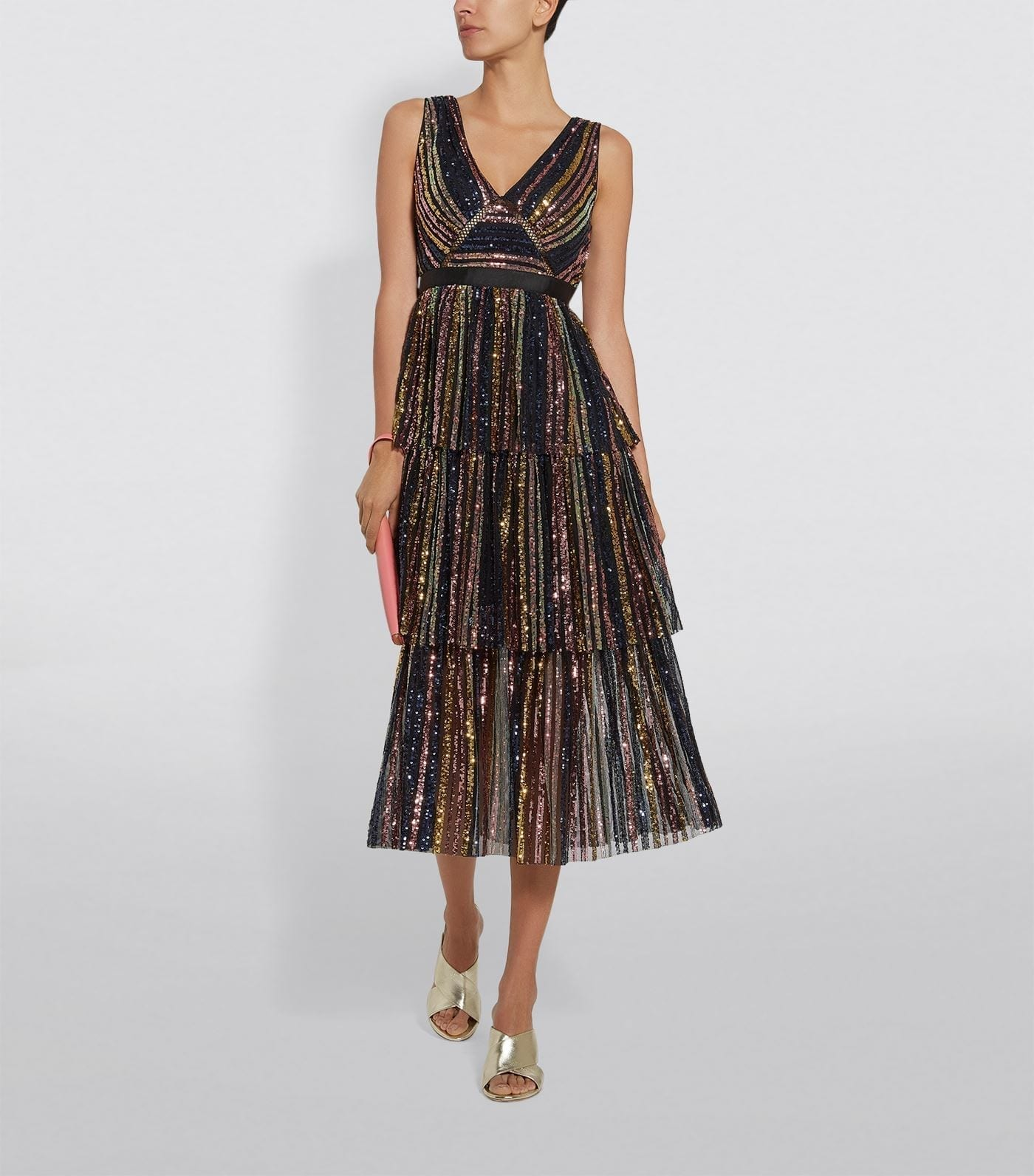SELF-PORTRAIT Tiered Striped Sequin Midi Dress
