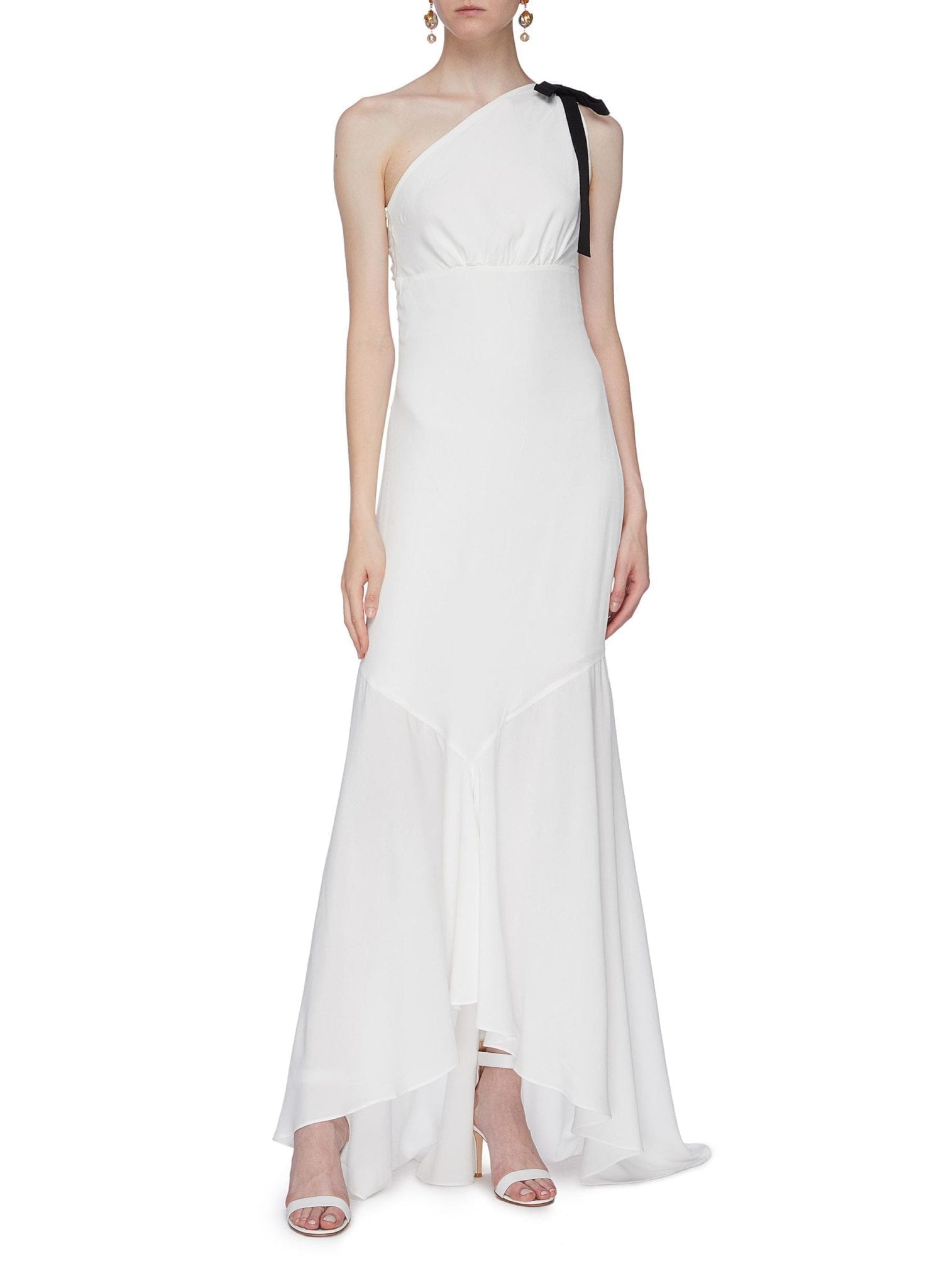SILVIA TCHERASSI 'Asha' Contrast Sash Tie One Shoulder High-low Dress