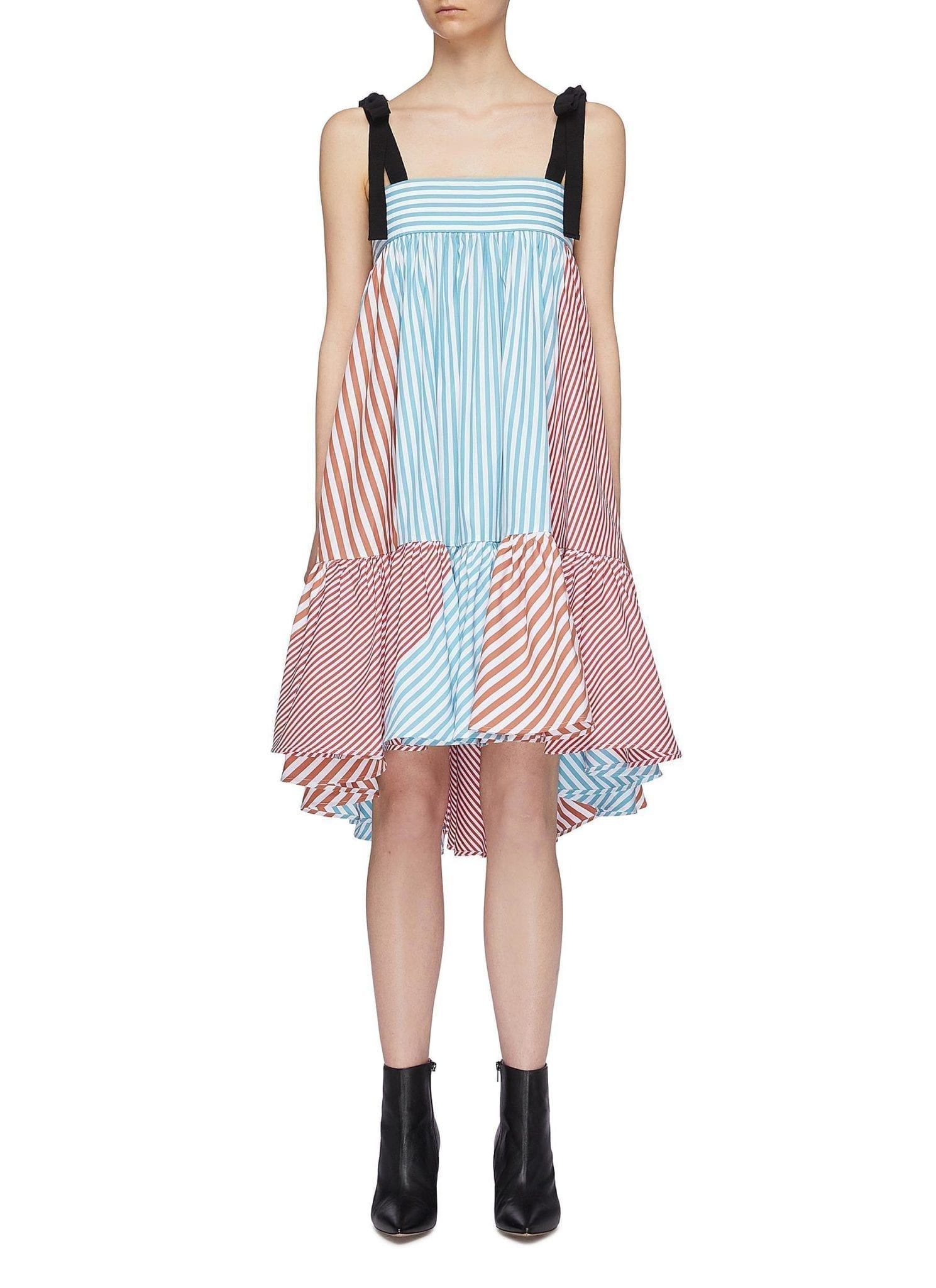 SILVIA TCHERASSI 'Calantha' Tie Shoulder Colourblock Stripe Peplum Dress