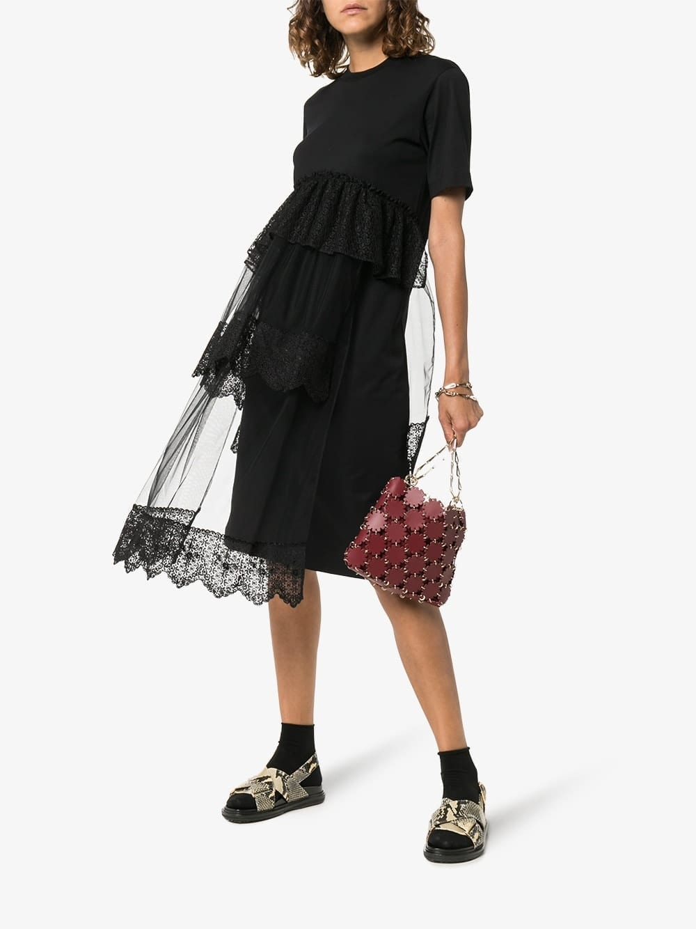 SIMONE ROCHA Lace Detail Tiered Midi Dress
