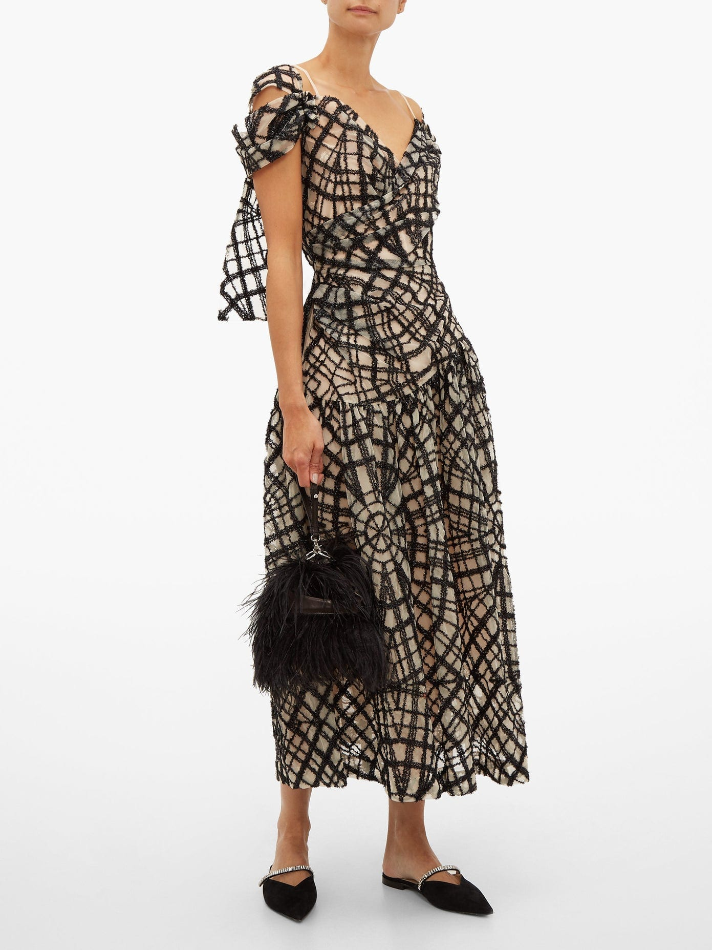 SIMONE ROCHA Web-pattern Draped Tulle Dress