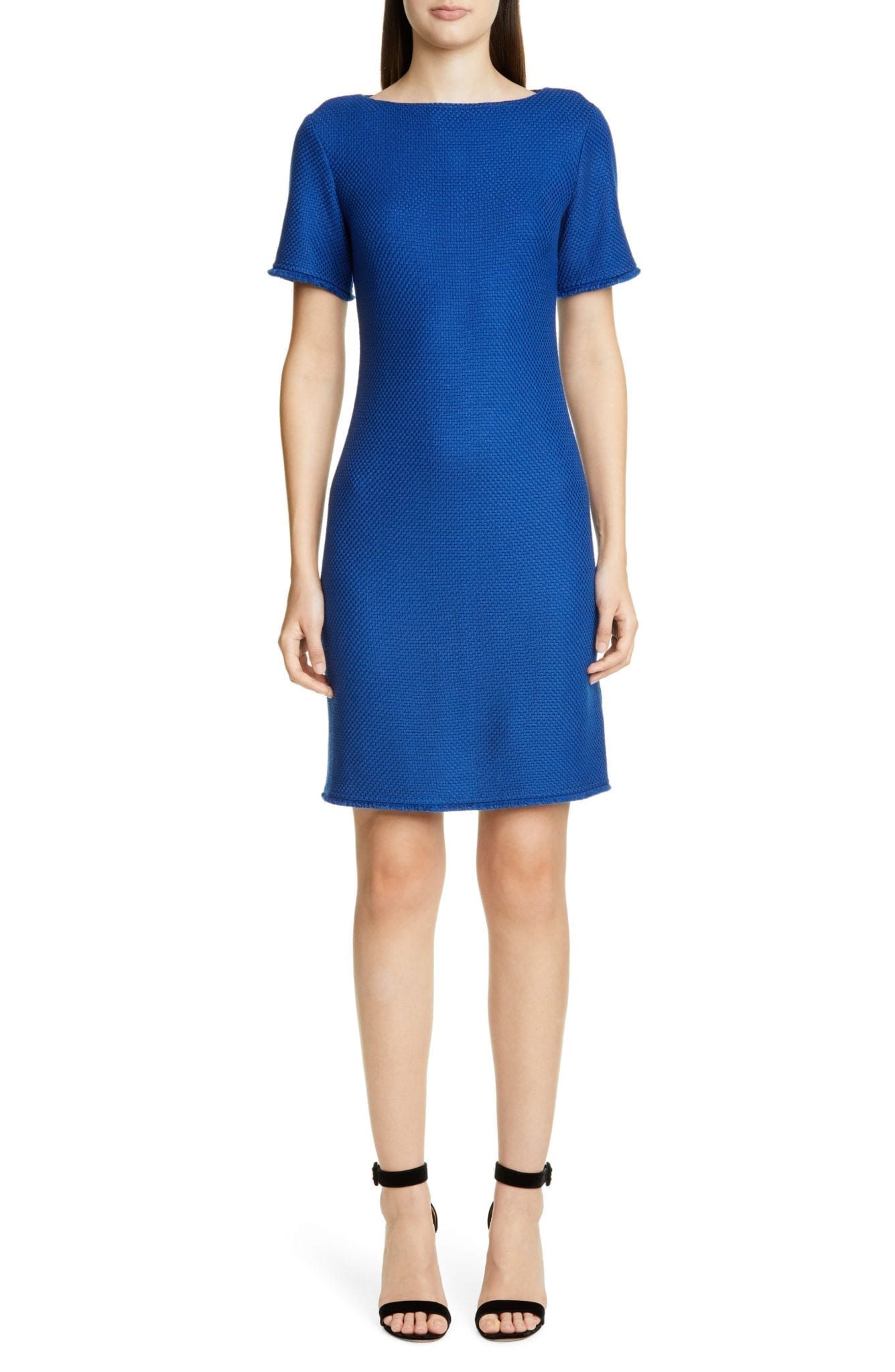ST. JOHN COLLECTION Gridded Texture Knit Sheath Dress