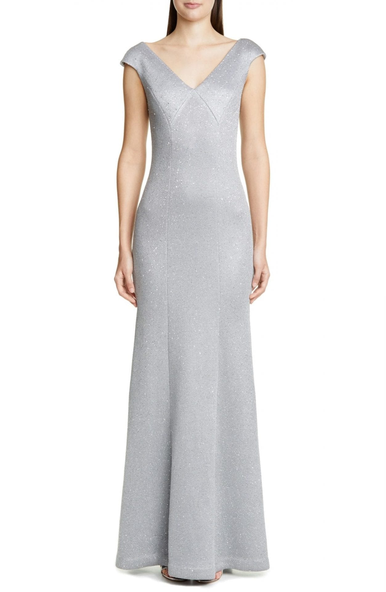ST. JOHN COLLECTION Sequin Bird's Eye Knit Gown