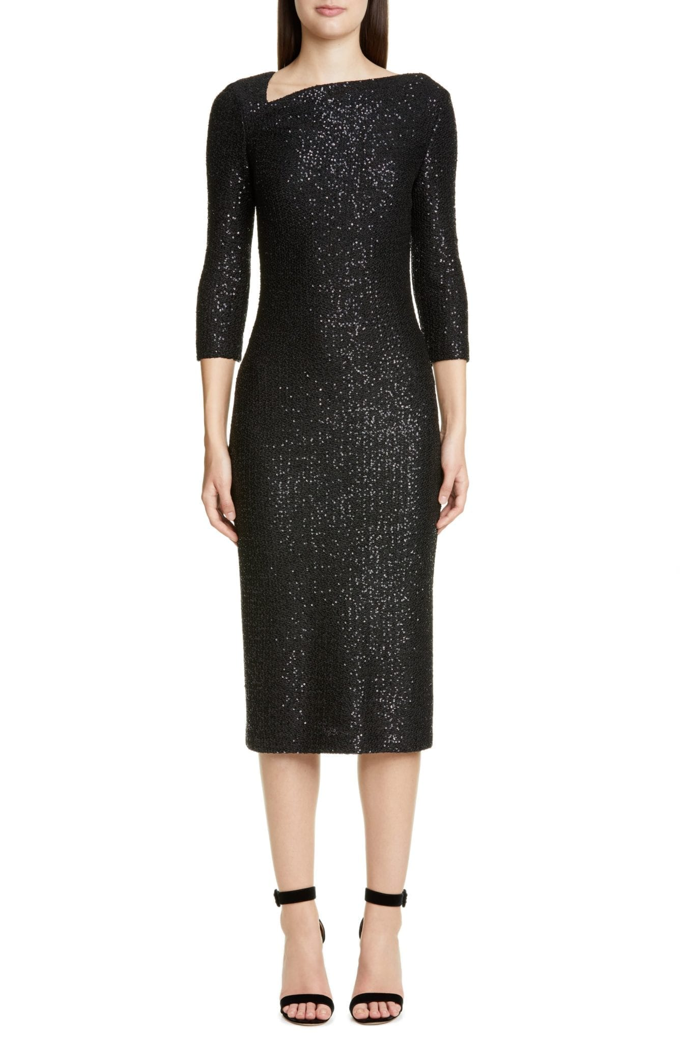 ST. JOHN COLLECTION Statement Sequin Knit Midi Dress