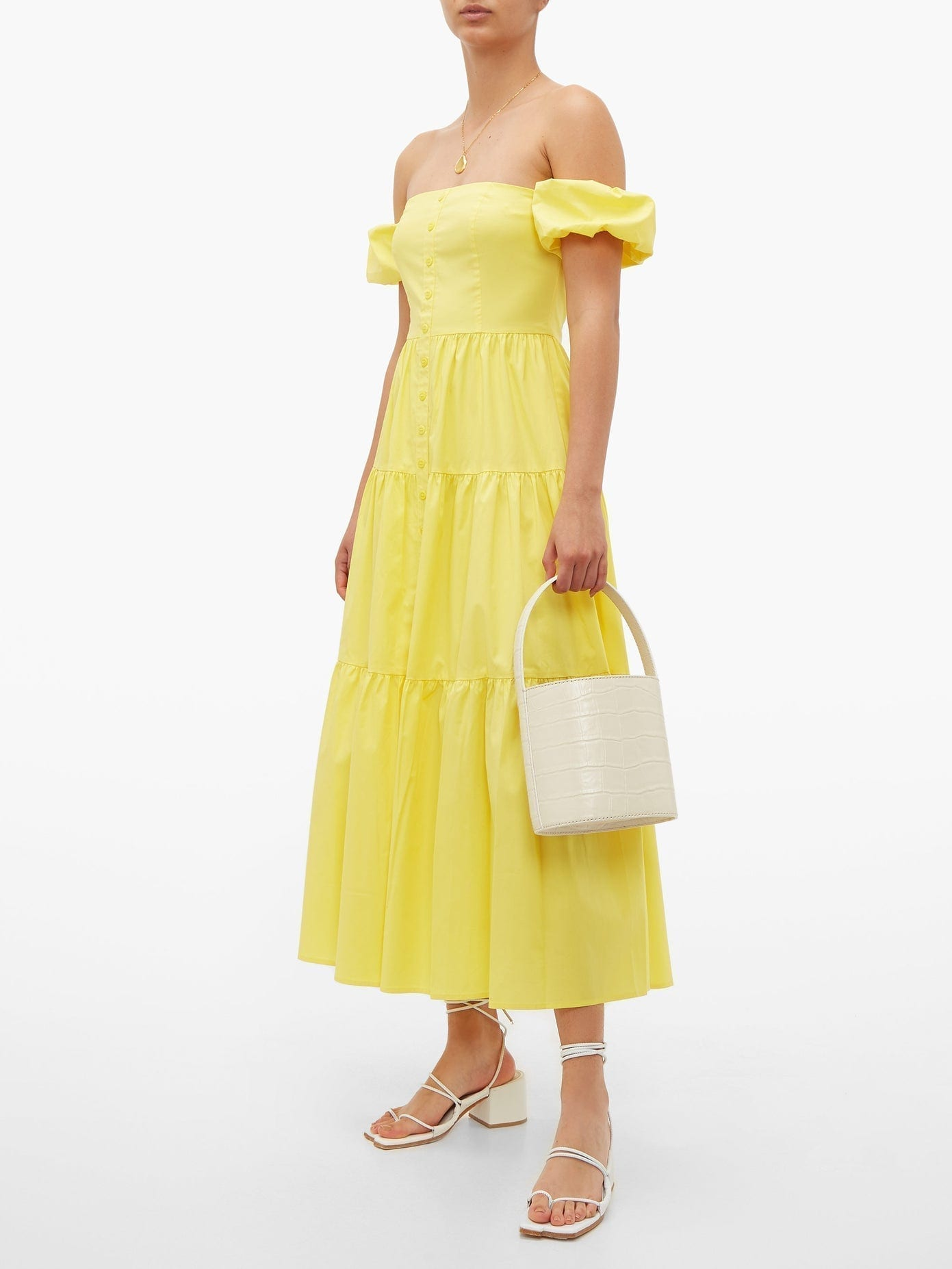 STAUD Elio Off-the-shoulder Cotton-blend Maxi Dress