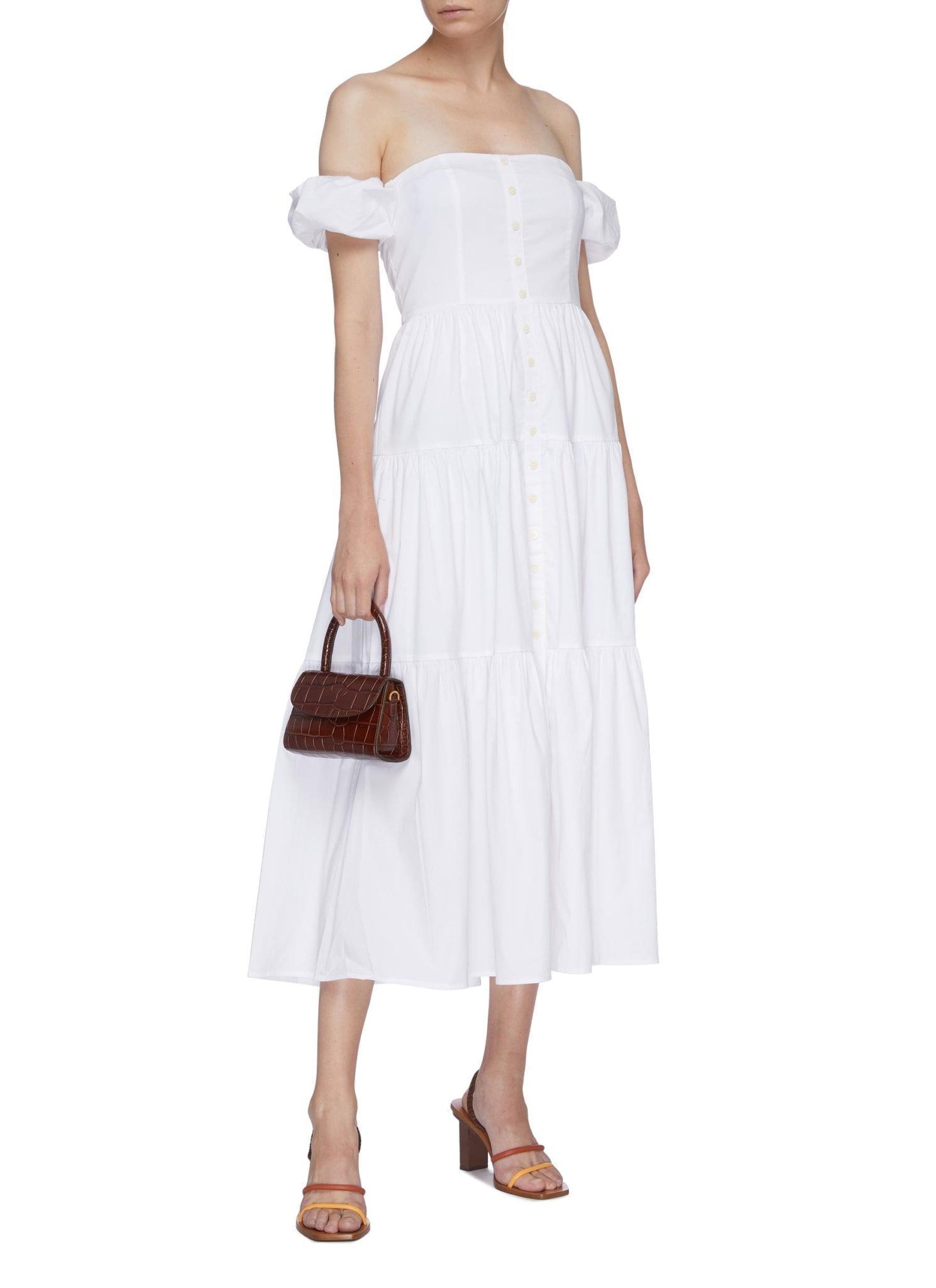 STAUD 'Elio' Puff Sleeve Off-shoulder Tiered Maxi Dress