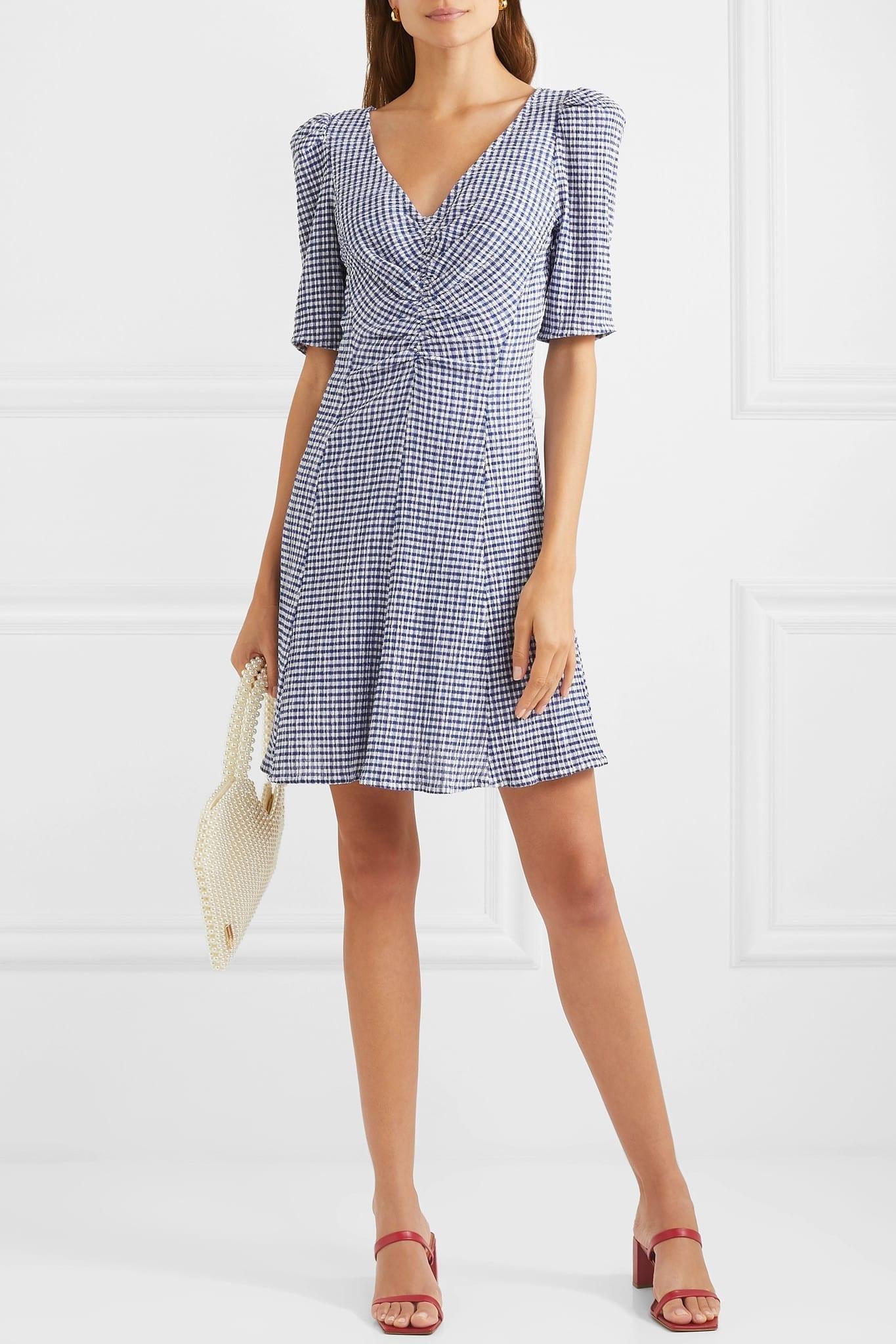 STAUD Frites Gingham Stretch-seersucker Mini Dress