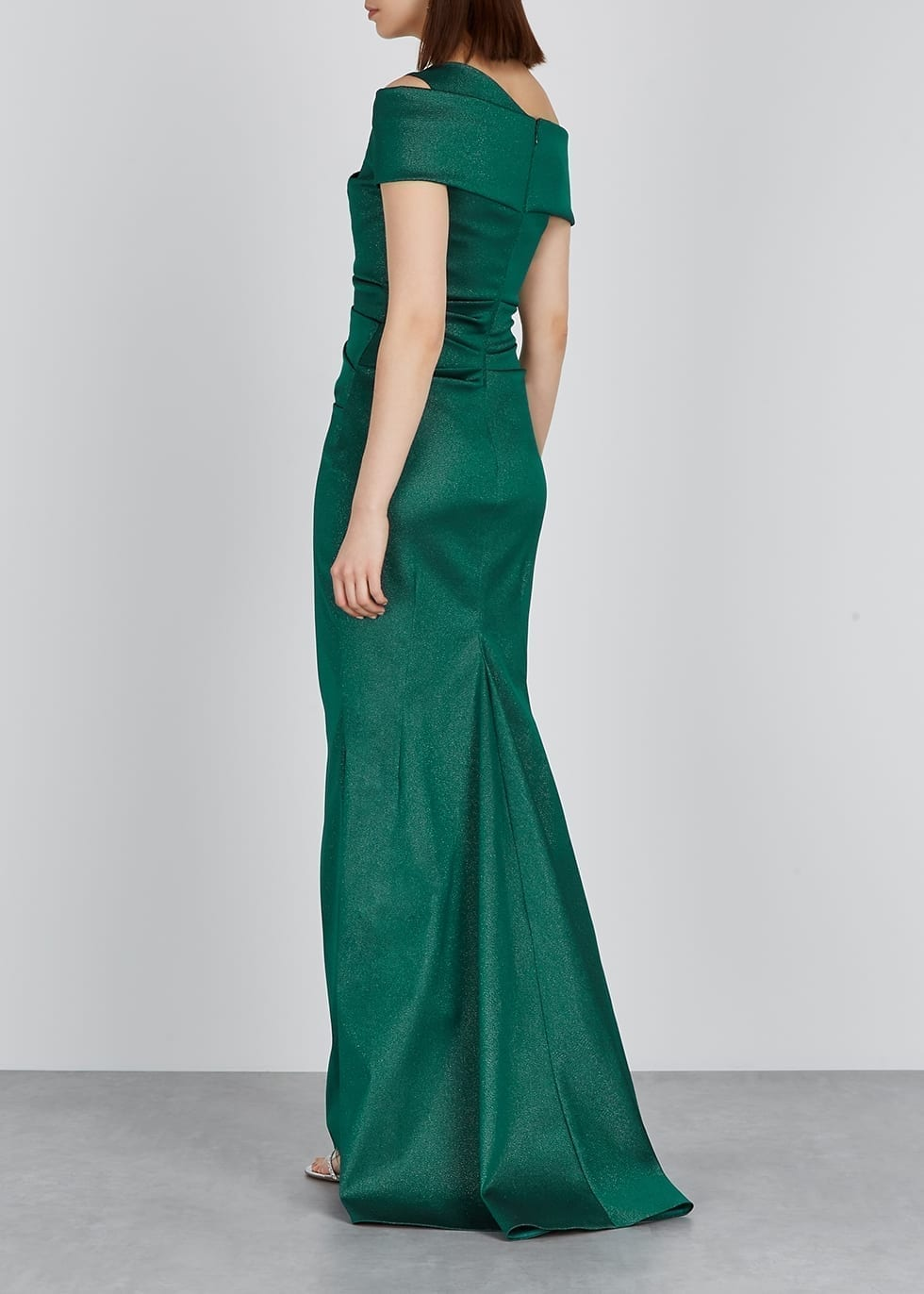TALBOT RUNHOF Gazar Metallic-weave Ruched Gown