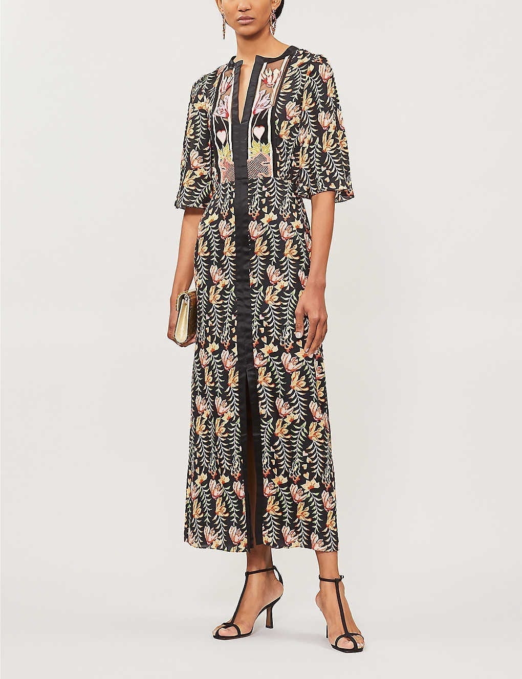 TEMPERLEY LONDON Rosy Panelled Embroidered Satin Maxi Dress