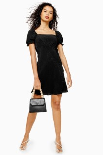 TOP SHOP Black Jacquard Mini Square Neck Tea Dress