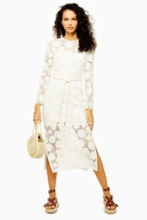 TOP SHOP Lace Rope Belt Midi Dress