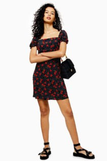 TOP SHOP Palermo Rose Mini Square Neck Dress