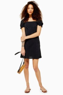 TOP SHOP Petite Black Jacquard Mini Square Neck Tea Dress