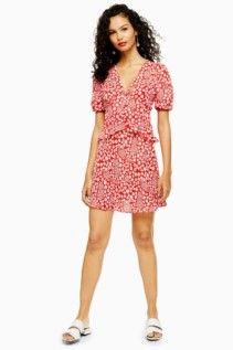 TOP SHOP Red Floral Mini Dress