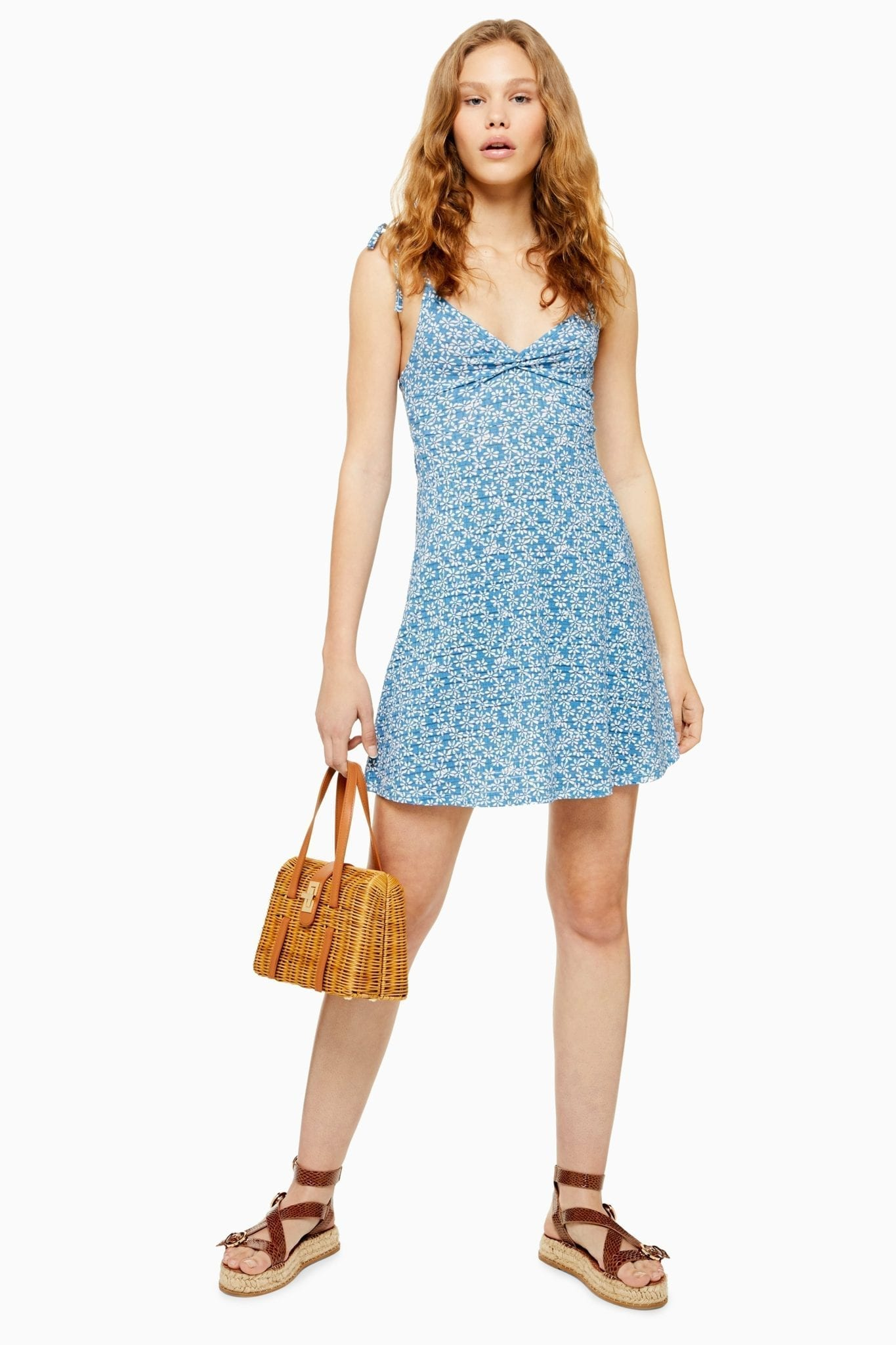 TOP SHOP Tall Ditsy Twist Front Mini Sun Dress