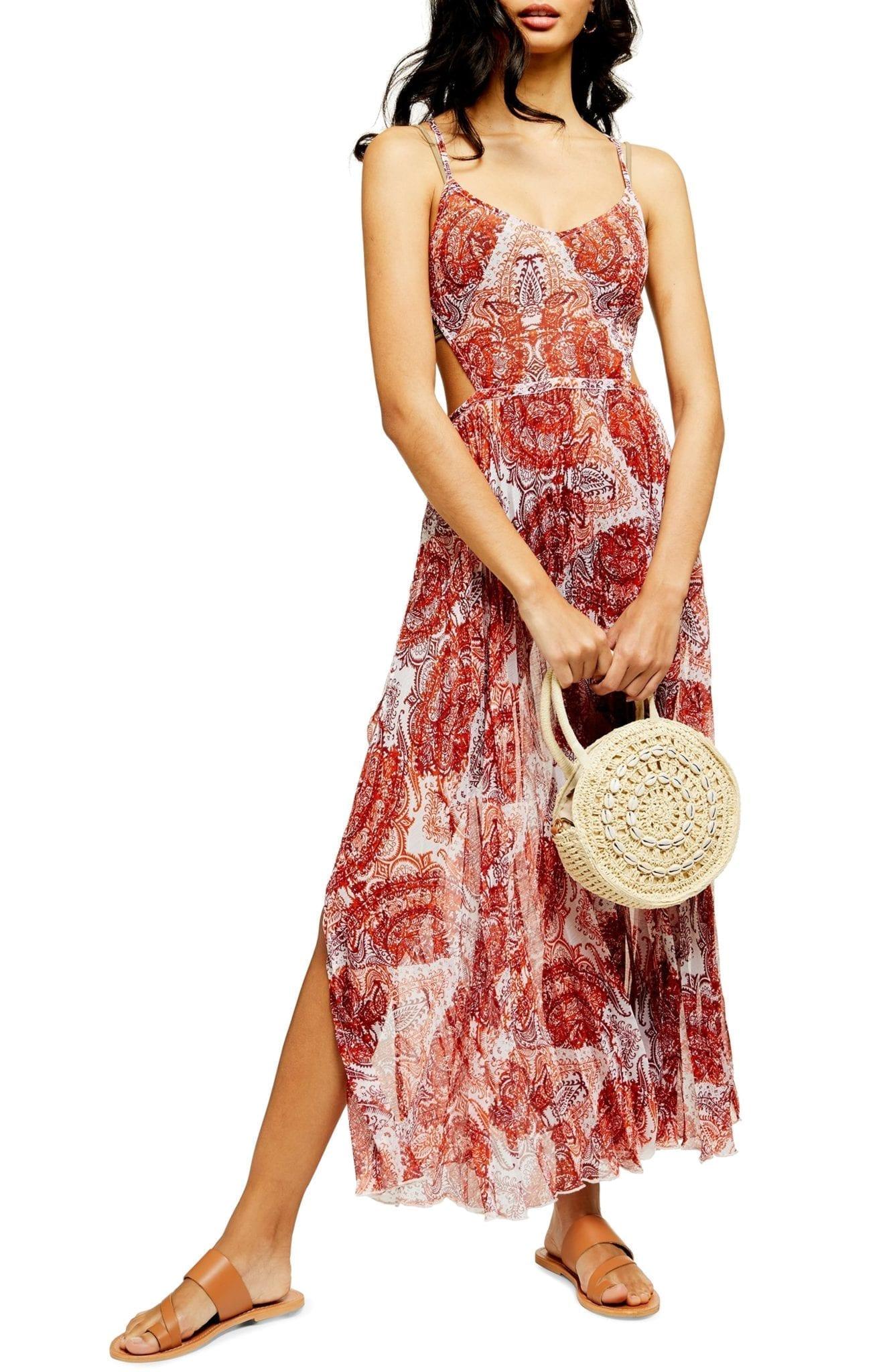 TOPSHOP Paisley Print Cover-Up Chiffon Maxi Dress