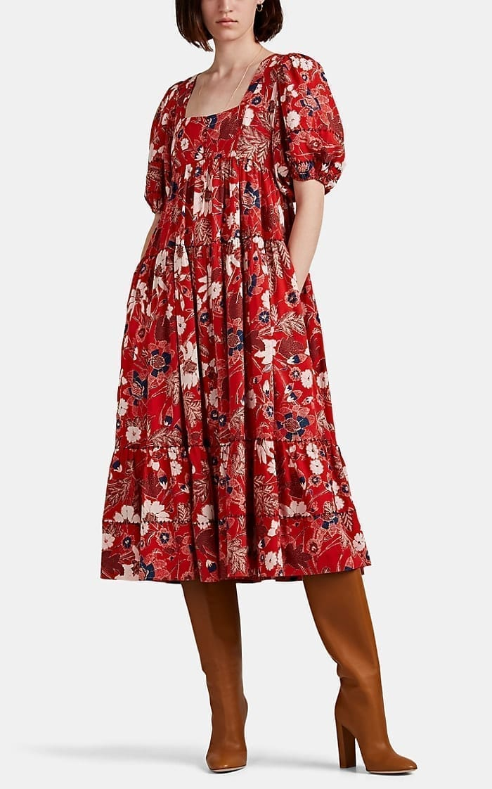 ULLA JOHNSON Nora Floral Midi-Dress