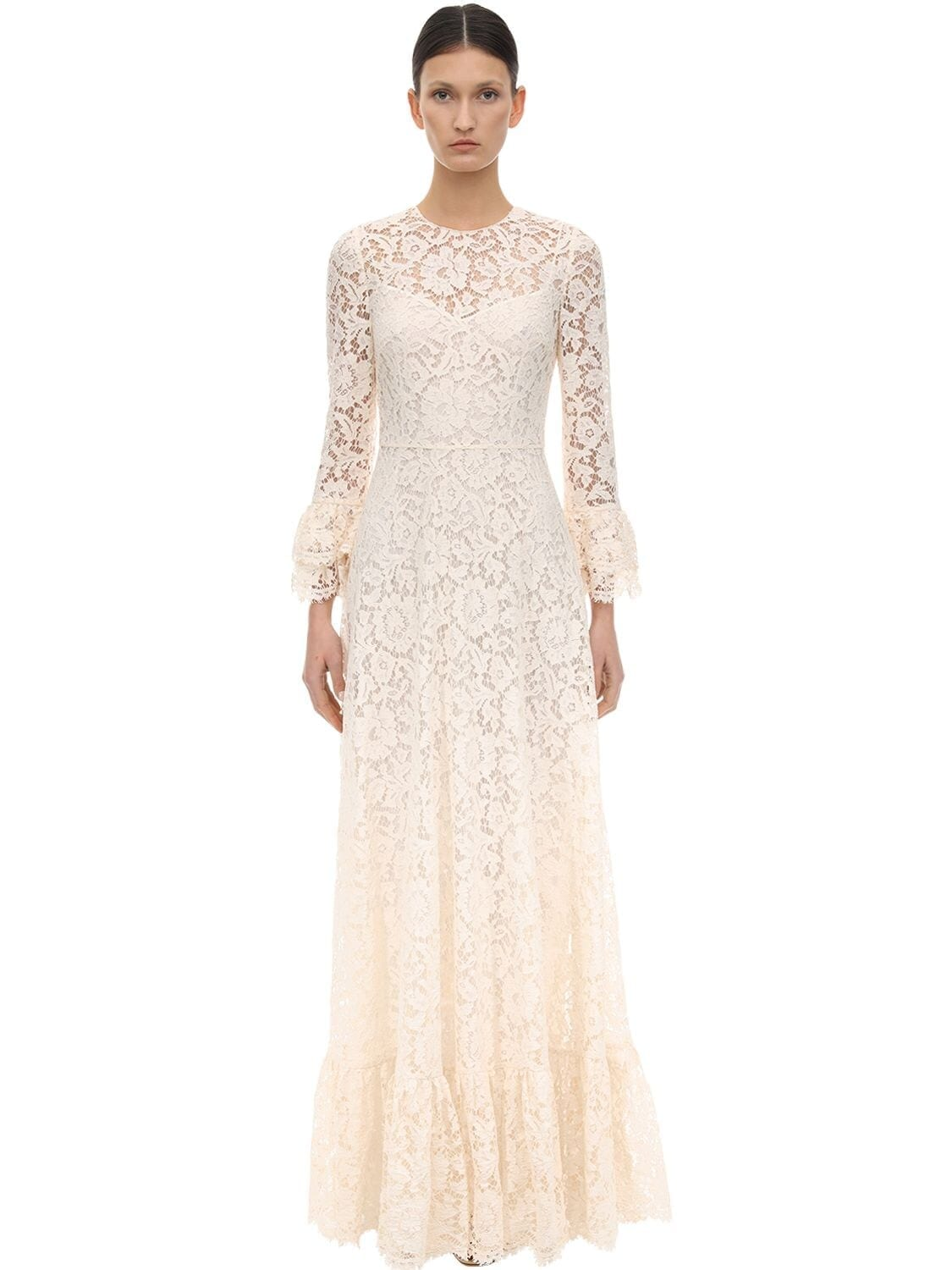 VALENTINO Long Lace Ruffles Dress